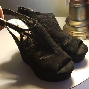 "Guess Shoes - 5"" Black Guess Peeptoe sling back wedge heel"